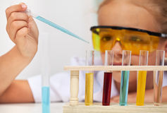 Young student in elementary school science class Royalty Free Stock Image