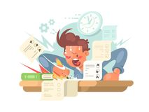 Young student on exam royalty free illustration