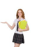 The young student female holding isolated on white Royalty Free Stock Images