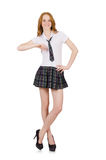 The young student female leaning isolated on white Stock Photos