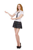 The young student female showing on white Royalty Free Stock Image