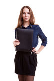 Young student with folder in her hand Royalty Free Stock Photography