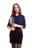 Young student with folder in her hand Royalty Free Stock Images