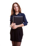 Young student with folder in her hand Stock Photos