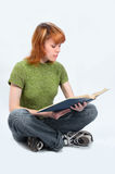 Young student girl. On white stock photo