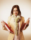 Young Student Girl with Books (Education and self development) Stock Photo