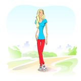 Young student girl casual outdoor green grass Royalty Free Stock Photo