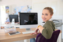 Young student girl in front of the computer Stock Photos