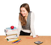 Young student girl  isolated over white Stock Photography