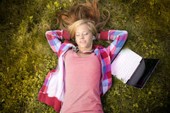 Young student girl with laptop Stock Photo