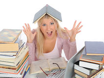 Young student girl with lots of books in panic Royalty Free Stock Images