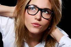 Young Student Girl in Nerd Glasses Royalty Free Stock Photos