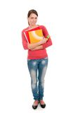 Young student girl with notebooks Stock Images