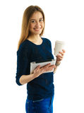 Young student girl with pad and coffee Royalty Free Stock Photo
