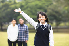 young student girl with parent in school royalty free stock photo