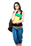 Young student girl in thoughtful posture. Royalty Free Stock Image