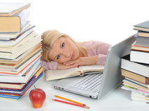 Young Student Girl With Lots Of Books In Panic Stock Images