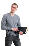 Young student in glasses with a book Stock Photography