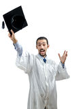 Young student graduate. Young male student graduate on white Stock Photography