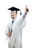 Young  student graduate. Young male student graduate on white Royalty Free Stock Images