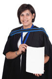 Young student graduate. Young student graduating with robe and certificate Stock Images
