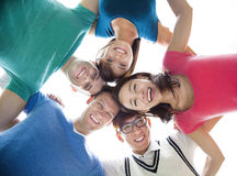 Young student group looking down Royalty Free Stock Images