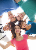 Young student group looking down Royalty Free Stock Image