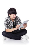 Young student happy using tablet pc Stock Photos