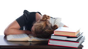 The young student has fallen asleep Stock Photo