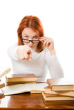 Young student with her books in glasses Royalty Free Stock Photos