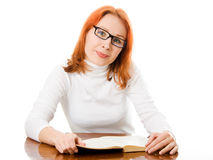 Young student with her books in glasses Stock Images