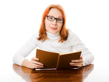 Young student with her books in glasses Royalty Free Stock Photography