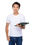 Young student hold with clipboard. Isolated on white background Royalty Free Stock Photos