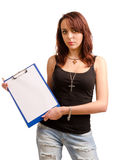 Young student holding a clipboard Stock Photo
