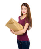Young student holding document work Royalty Free Stock Photography