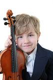 Young student holding a violin Royalty Free Stock Photo