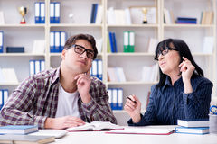 The young student during individual tutoring lesson Stock Photos