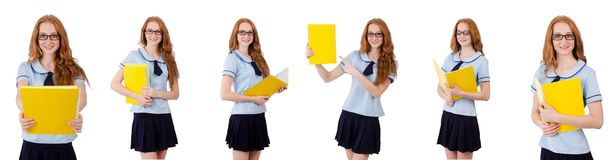 The young student isolated on the white Stock Photo