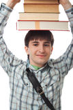 The young student isolated on a white Stock Photos