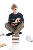 The young student isolated on a white Stock Photo
