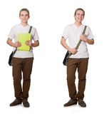 The young student isolated on the white background Stock Images