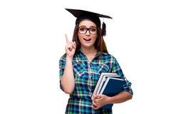 The young student isolated on the white background. Young student isolated on the white background Royalty Free Stock Images