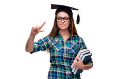 The young student isolated on the white background Stock Photography