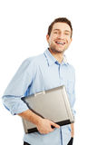 Young student with laptop smiling Stock Photos