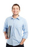 Young student with laptop smiling Stock Photo