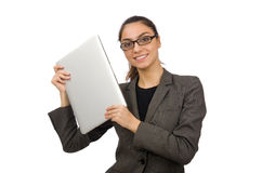 Young student with laptop on white Royalty Free Stock Image