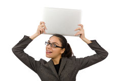 Young student with laptop on white Royalty Free Stock Photo