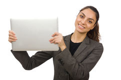 Young student with laptop on white Stock Photo