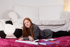 Young student during learning Stock Photo