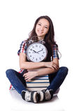 Young student missing exam deadline isolated Royalty Free Stock Photo